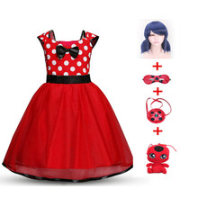 Hot sale New Moana Ladybug Girls Dress Summer Brand Clothes Lace Dot Design Baby Dresses Lady bug Party