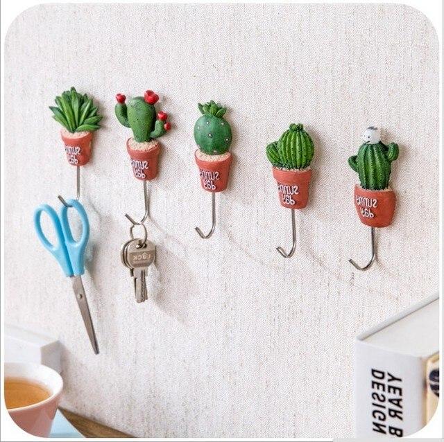 5pcs cactus plant pot wall housekeeper hooks for hanging door hanger