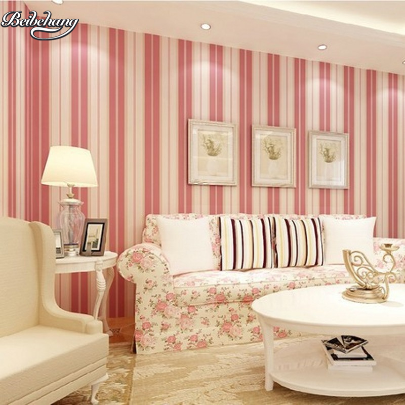 beibehang Mediterranean vertical striped nonwoven wallpaper blue green yellow red pink warm bedroom living room full of beibehang mediterranean blue striped 3d