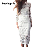 2018 White Lace Dress Women's High Quality long Sleeve Daisy Floral Embroidery Cutout Elegant Dress Hollow Out