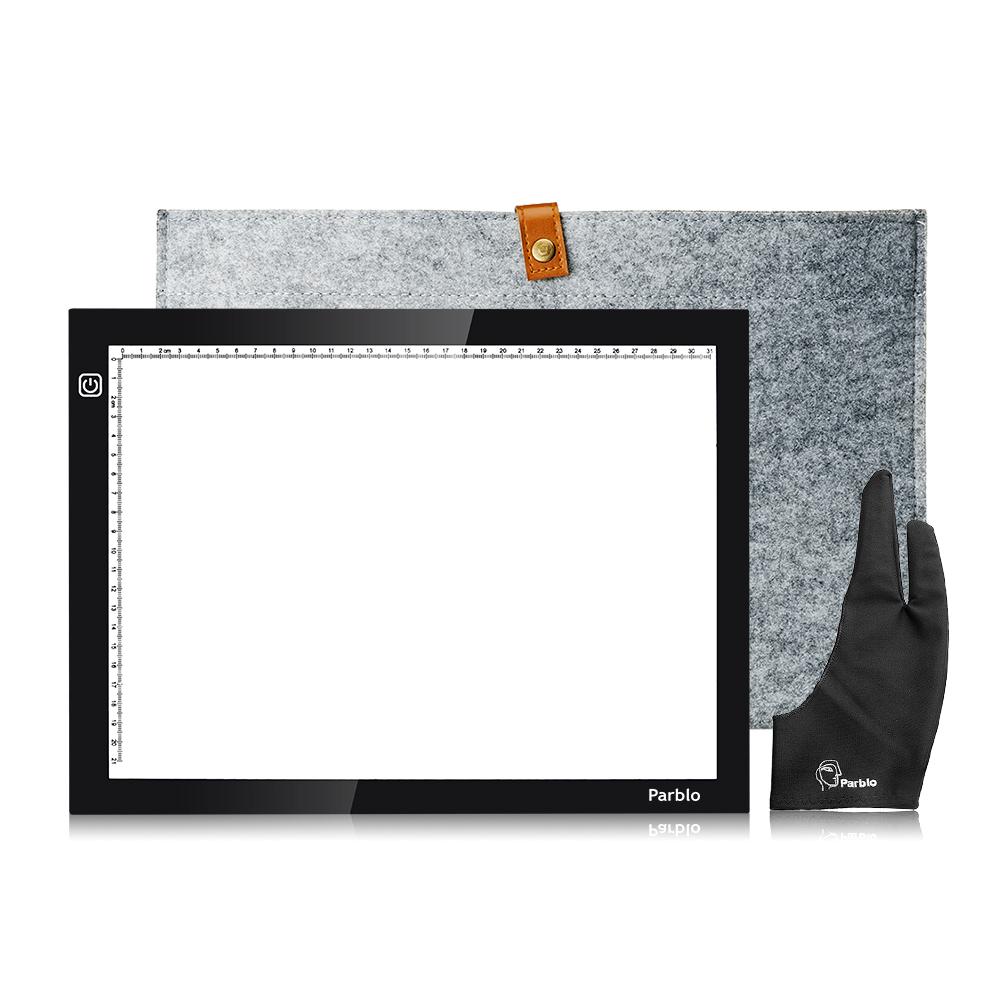 Prix pour Parblo A4 Led Lumière Pad Copie Traçage Boîte à Lumière Borad A4S Graphique lumière Pad comme Huion L4S + 15 Pouces Laine Doublure Sac + Gant