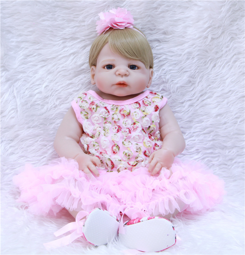 Bebe girl reborn NPK 22 full body silicone reborn baby dolls for child gift princess dolls waterproof can sit&lie bonecasBebe girl reborn NPK 22 full body silicone reborn baby dolls for child gift princess dolls waterproof can sit&lie bonecas