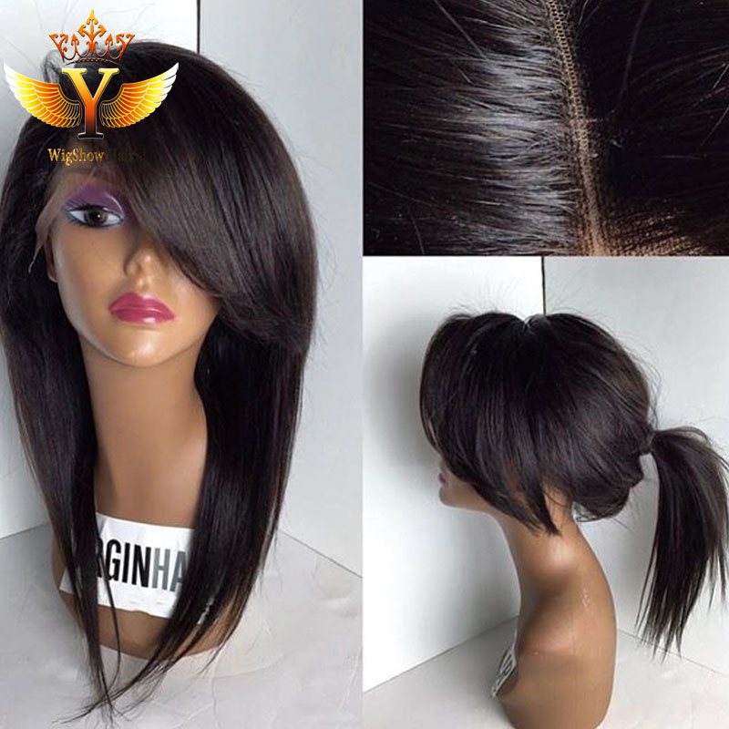 Lace Human Hair Wig Short Full Lace Human Hair Wigs With ...