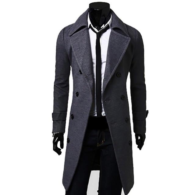 HEFLASHOR 2019 Mens Trench Coat Fashion Men Autumn Long Coat Winter Double-breasted Windproof Slim Trench Coat Plus Size Jackets