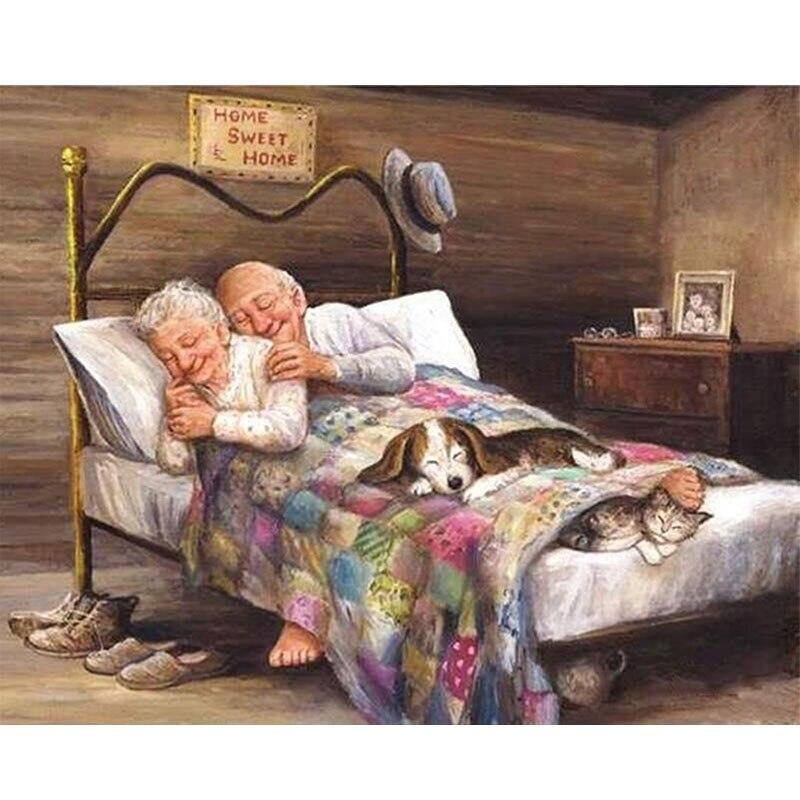Dessin animé vieux Couple plein résine bricolage diamant peinture drôle grand-père et grand-mère 5D diamant broderie point Maison décoration