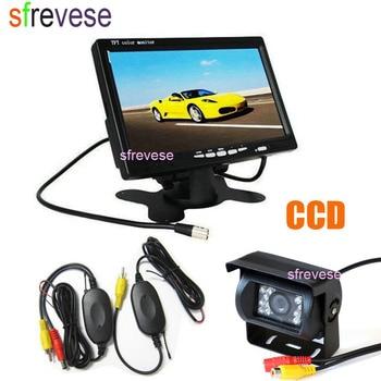 "Wireless 18 IR Night Vision Reverse Parking Reversing Backup CCD Camera + 7"" LCD Monitor Car Rear View Kit"