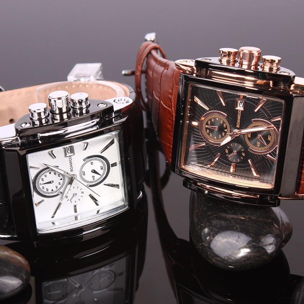 Image 4 - BOAMIGO men quartz watches brow leather strap auto date clock male fashion casual analog big man wristwatches relogio masculino-in Quartz Watches from Watches
