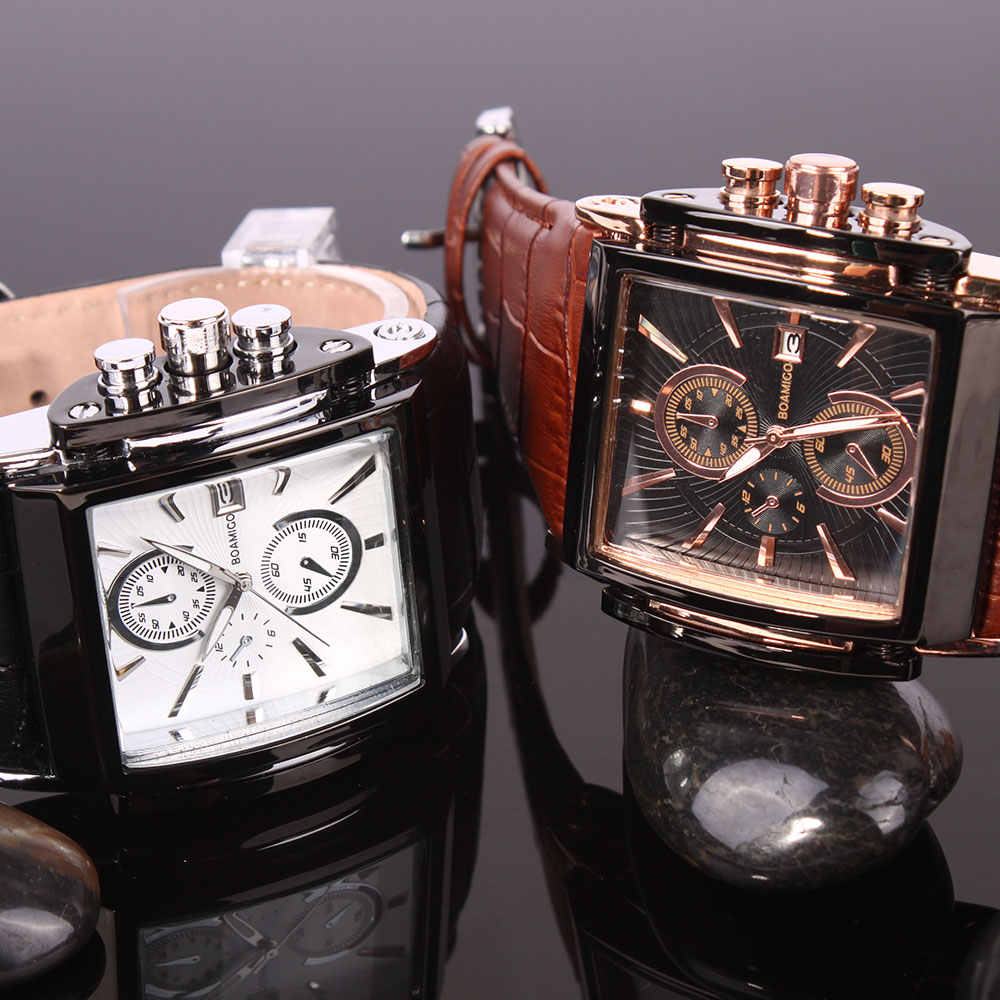 Relojes de cuarzo BOAMIGO para hombre, relojes de pulsera de cuero para cejas, reloj de fecha automático, relojes de pulsera para hombre grande analógicos casuales, reloj masculino