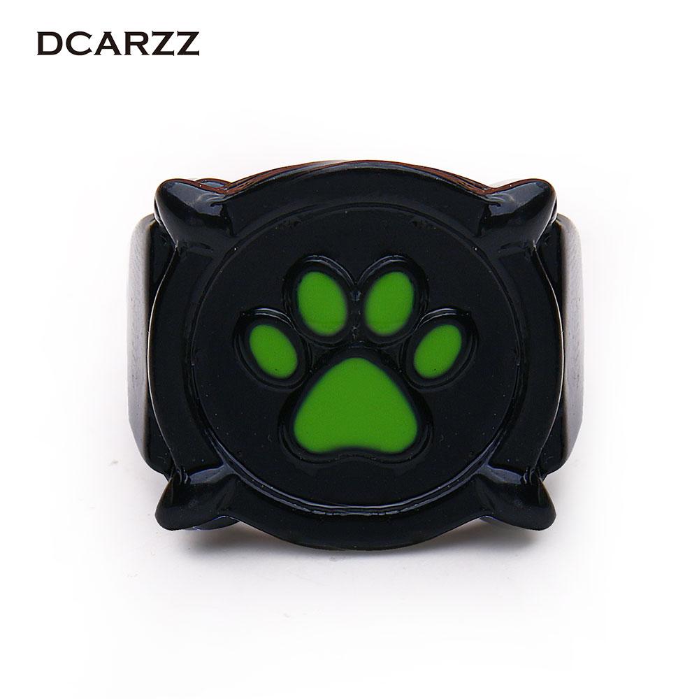 Size 5 10 Chat Noir Green Pawprint Ring Miraculous Ladybug Jewelry for Men Kids Cat Noir
