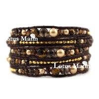 Lotus Mann Naturel thé-couleur cristal or série 5 ronde en cuir cordon bracelet souhait chanceux bracelet