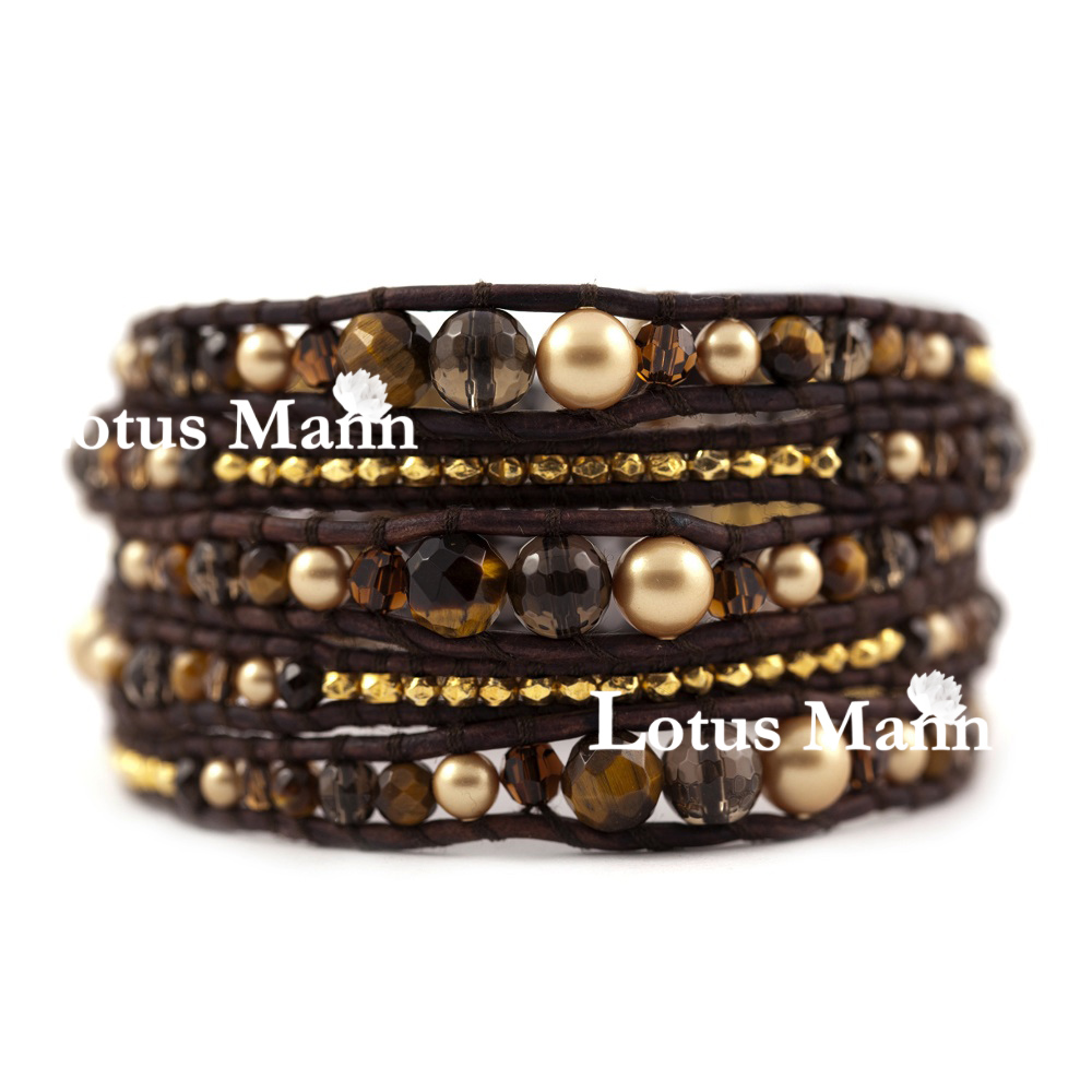 все цены на Lotus Mann Natural tea-coloured crystal gold series 5 round leather cord bracelet wish lucky bracelet онлайн