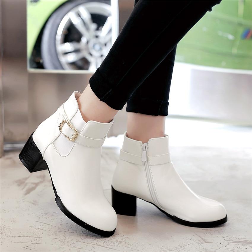 Spring Autumn Winter Women Ankle Boots Square High Heel Woman Short Boots Ladies Shoes botas Plus Size 34-40 41 42 43 44
