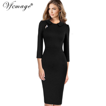 Vfemage Women Elegant Vintage 2017 Spring Autumn Slim Casual Wear To Work Business Office Party Bodycon Pencil Sheath Dress 4423