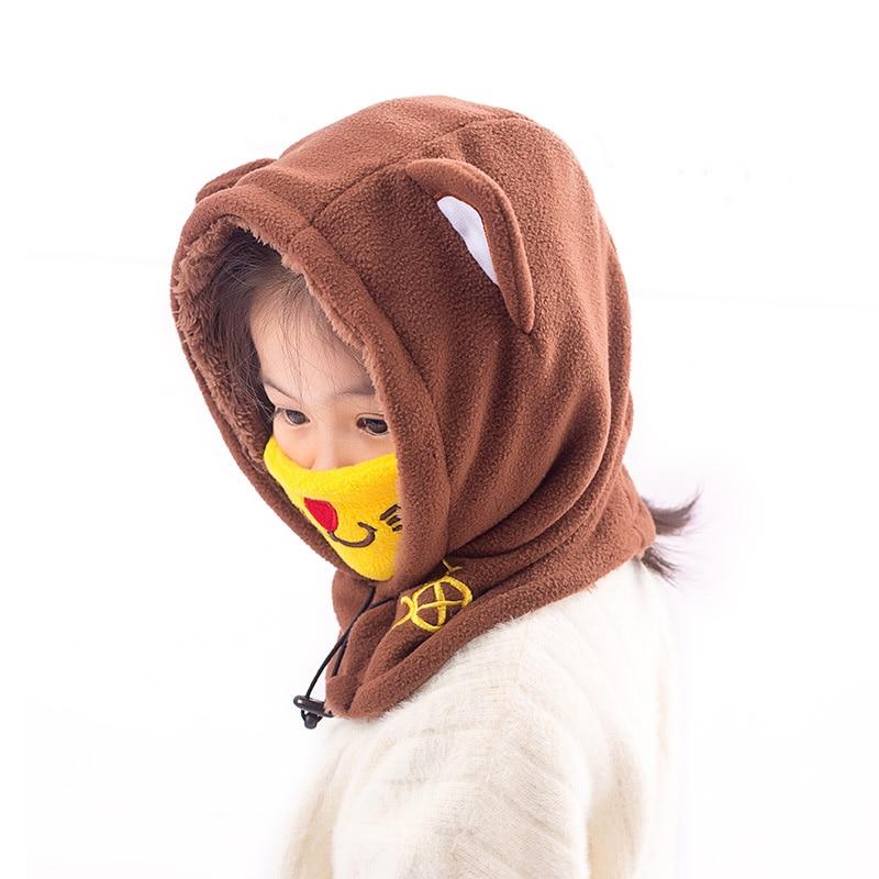 ZMAFOX baby hooded cap with ski mask children kids polar fleece balaclava beanie hats neck warmer masked cap velvet hooded hat in Hats Caps from Mother Kids