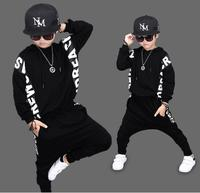2018 boys and girls in spring and autumn, cool spring spring, two hip hop black hip hop suit.kid clothing bays set 2 piece