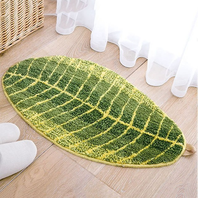 Balcony Floor Mat Leaf Shap Kitchen Carpet Doormat Living Room Rug ...