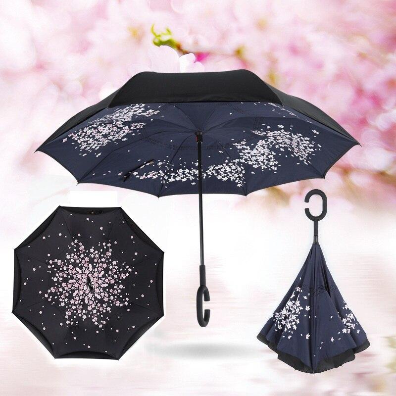 Paraguas reverso doble a prueba de viento moda capa lluvia paraguas invertida interior hacia fuera protección contra la lluvia c-hook con las manos nuevo