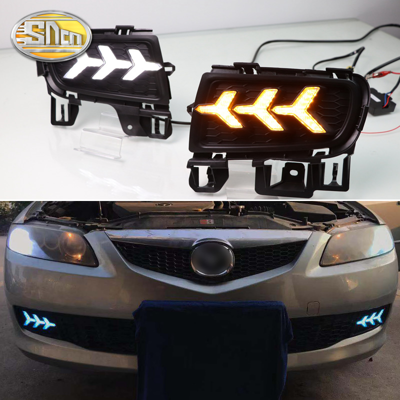 SNCN 2PCS LED Daytime Running Light For Mazda 6 2005 2006 2007 2008 Car Accessories Waterproof