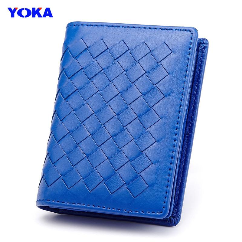 YOKA Sheepskin card holder women men genuine leather ID holders business name card bag real sheep leather knitting free ship