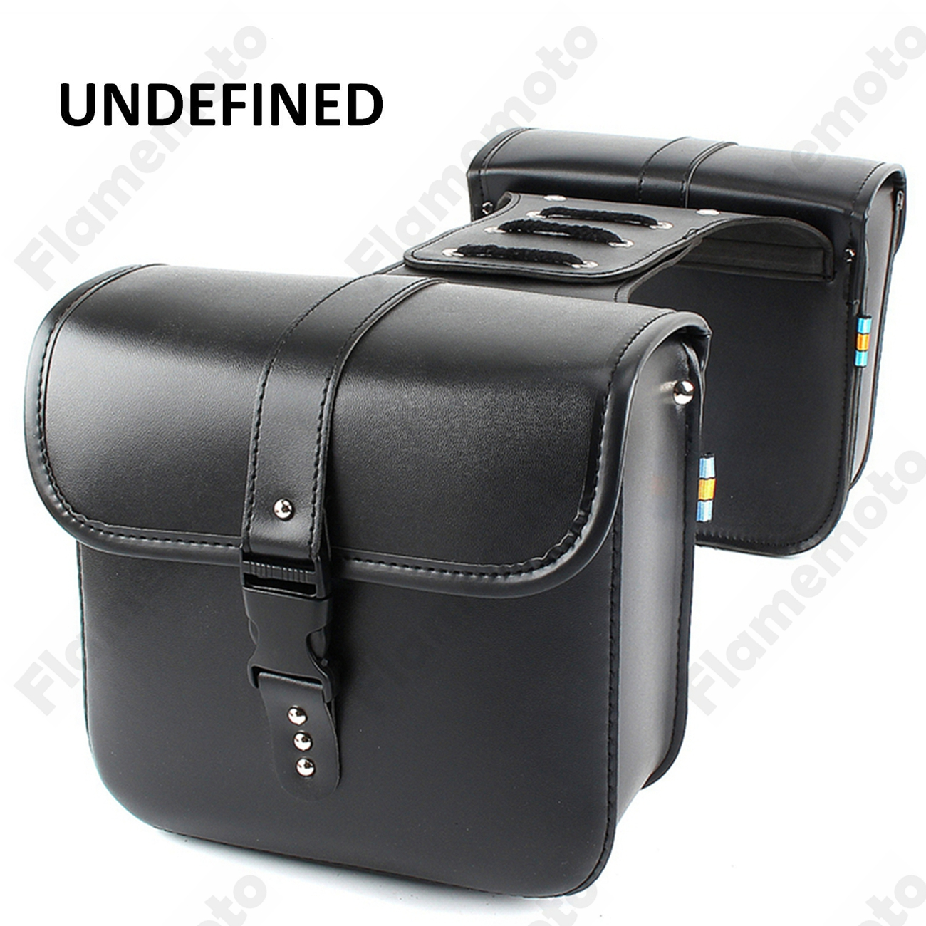 Black PU Leather Motorbike Accessories Parts Side Saddle Bags Tool Luggage Pannier Cruiser UNDEFINED