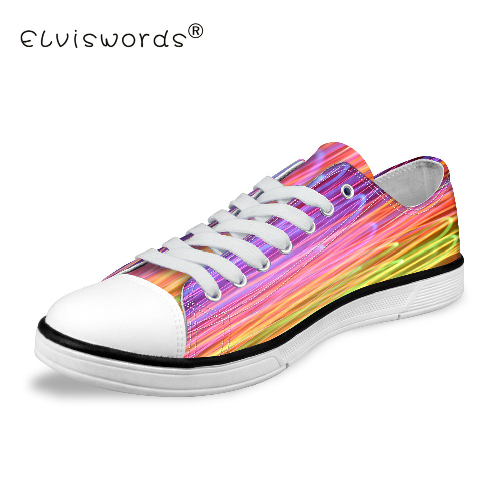ELVISWORDS Colorful Stripe Printing Low Top Canvas Shoes Women Classic Style Vulcanize Shoes for Students Fashion Light Sneakers