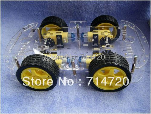 Free shipping 4WD robot smart car chassis kits with speed encoder