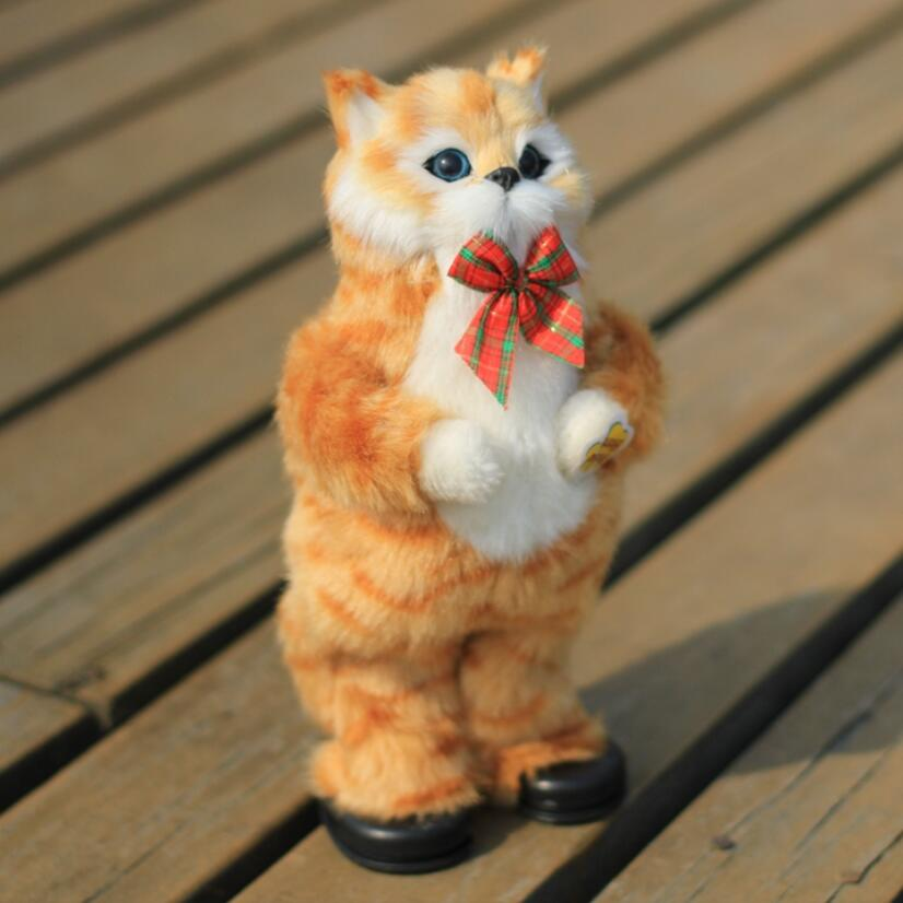1pc Cute Simulation Cat Electric Yellow Cat Singing And Dancing Cat Doll Gift Kids Interactive Toys/30cm 1pc 28cm cartoon simulation 3d cat