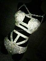 Блестят кристаллы Бикини кисточкой цепи короткие Для женщин пикантные блестящие наряд цвет серебристый, золотой бюстгальтер костюмы певиц