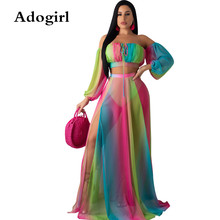 Adogirl Gradient Tie-dye Prin Chiffont 2 Piece Set Skirt Woman Transparent Strapless Crop Top+ High Slit Maxi Skirt Outfits crop top with front slit cut out skirt