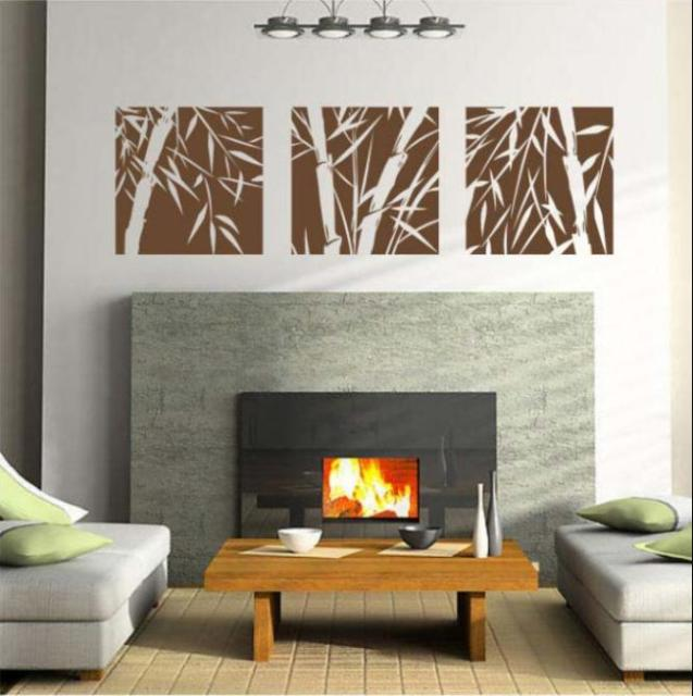 Set Of 3 Canva Effect Bamboo Wall Art Vinyl Wall Sticker Home Decal  Fashionable Wall Decoration