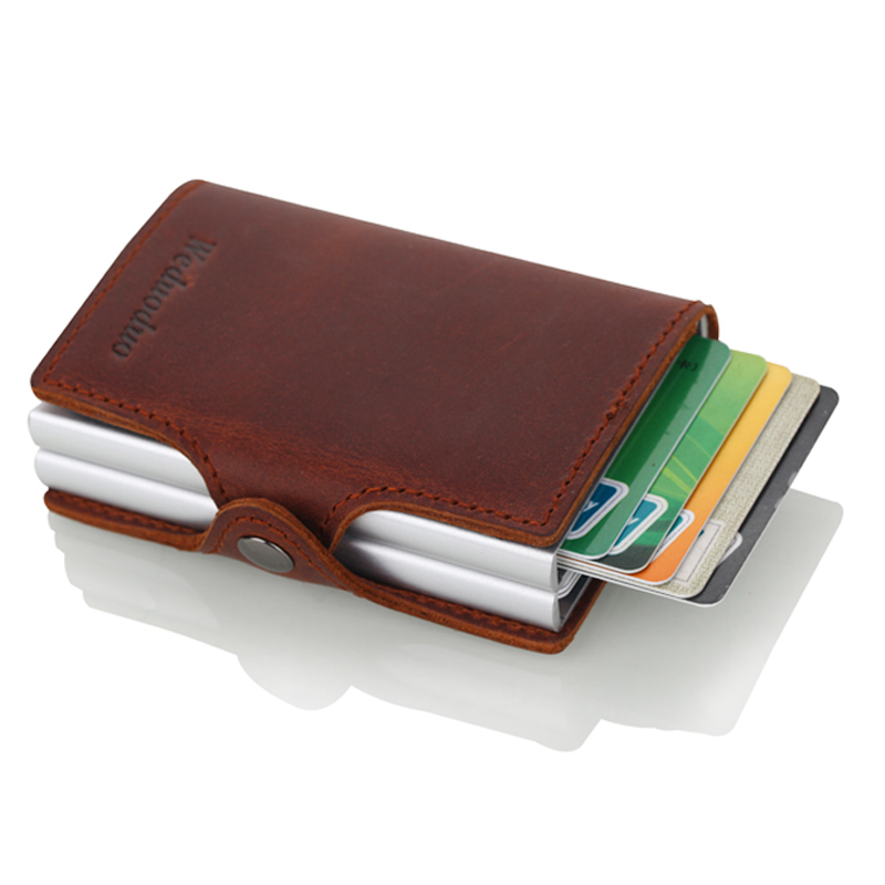 Crazy Horse Leather Credit Card Holder Security Information Double Box Aluminum Card Holder Wallets Rfid Blocking Wallet