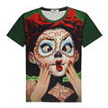 New Beautiful Redhead Girls day of the dead 3D Print T-shirt Anime Cotton Unisex Costume Summer Tee Shirts Casual Homme Tops
