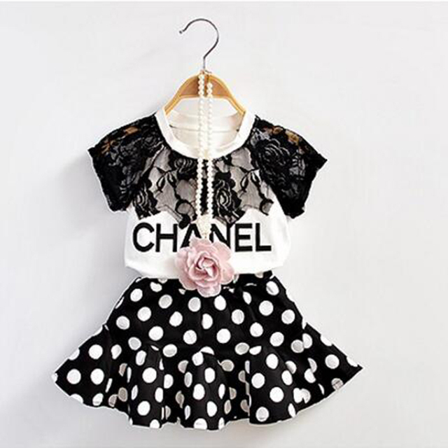 2016 New Summer Girls Clothing Set Baby Girls Short-sleeve T-shirt+Dots Skirt 2 pieces Set Kids Clothes for 1-6 Years CE01