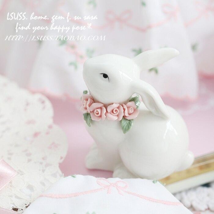 Blue Pink Flower Ceramic Small Rabbit Home Decor Crafts Room Decoration Handicraft Porcelain Animal Figurines Wedding Decoration
