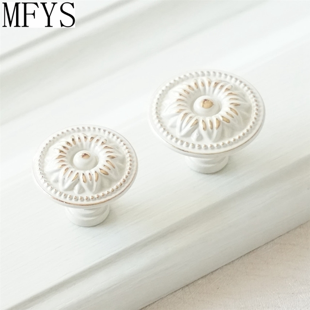 Shabby Chic Dresser Drawer Knobs Handles Creamy White Gold
