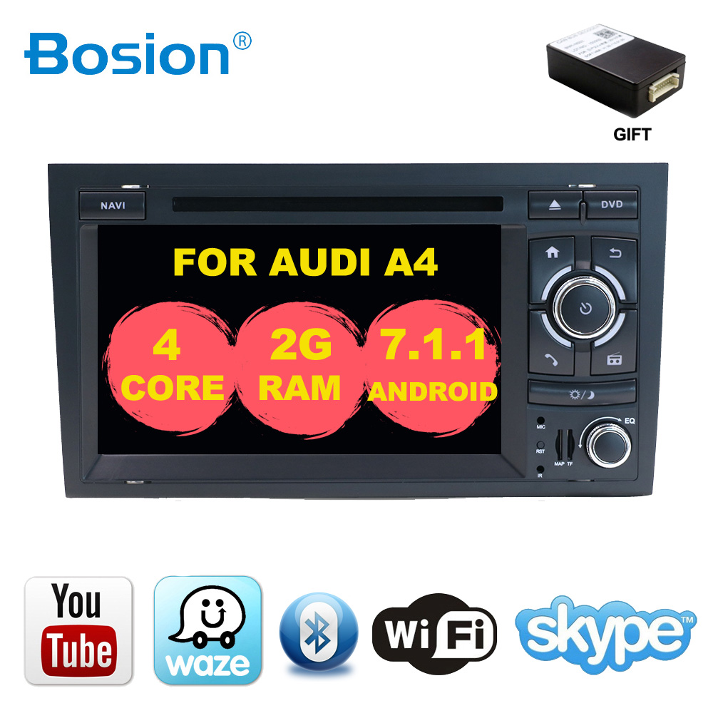 7 2 din Android 7.1 VOITURE GPS Navi pour audi A4 2002-2008 S4 RS4 8E 8F B9 b7 Avec BT RDS WIFI DVD CFC voiture multimédia lecteur radio