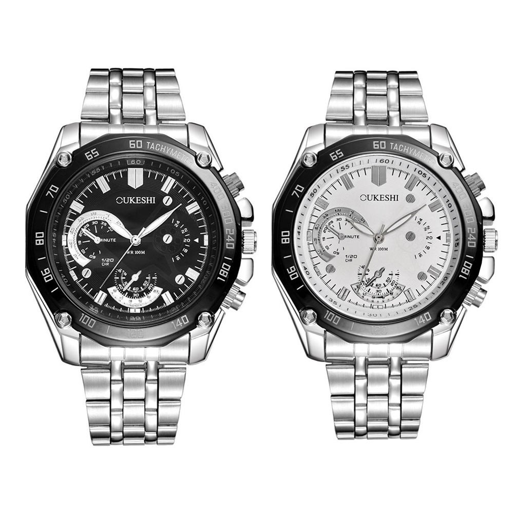 Business Men Watches Big Dial Stainless Steel Strap Wristwatch Clock Casual Analog Quartz Watch Gift LXH