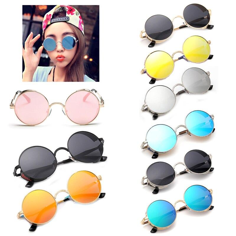 100% QualitäT Männer Frauen Sonnenbrille Gläser Runde Mirrored Metall Vintage Polarisierte Steampunk Sonnenbrille Mode Brillen