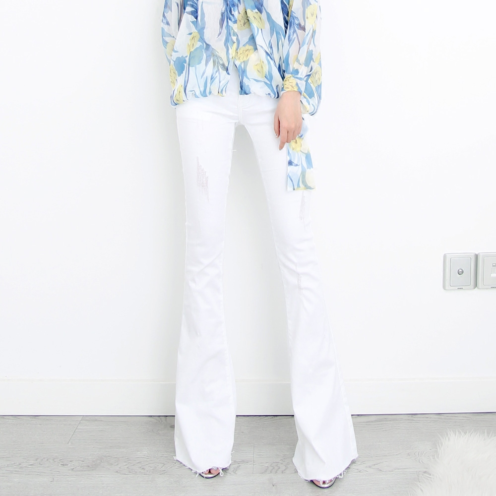 Elegante azul Slim Gran Moda Negro Bottom blanco Tamaño Alta Pantalones Denim Lleno Bell De Cintura Jean Arrancó Señoras Flaco Plus Sexy Hqz1wnE8O