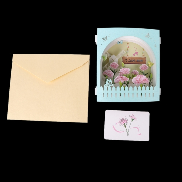 3D Pop Up I Love Mom Birthday Greeting Postcards Gift Cards Custom Laser Cut Blank Vintage Invitation Letters