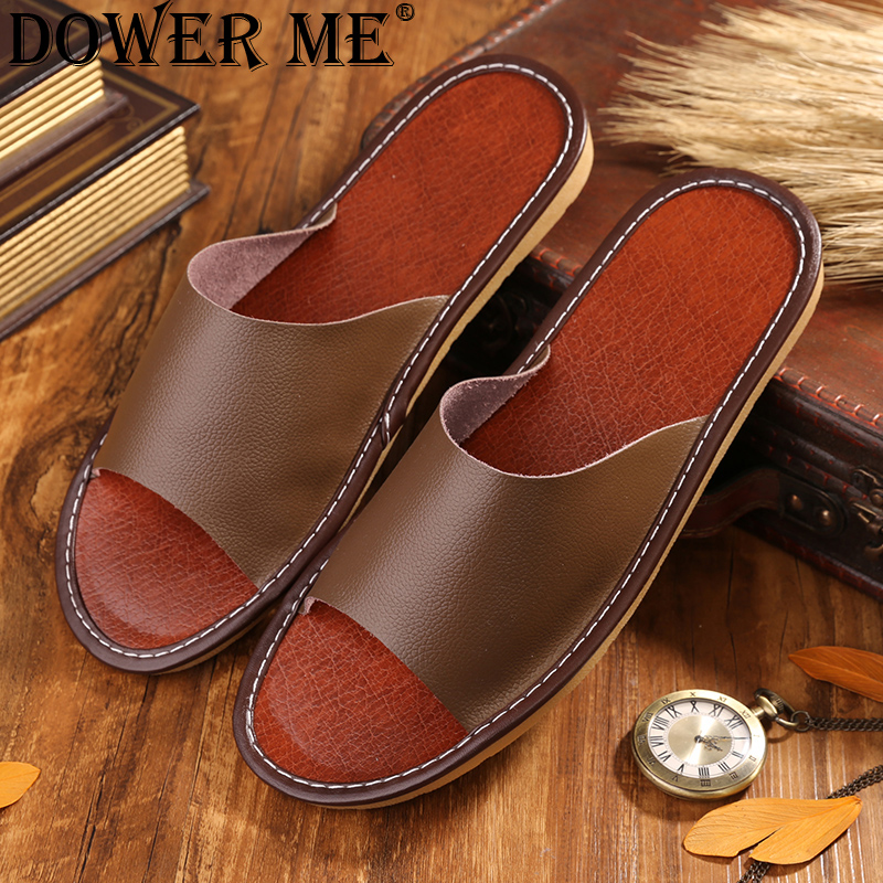 2017 New Leather Men Slippers Summer Home Slippers High Quality Men Shoes Home Floor Shoes  8811 women sexy distressed hole denim jeans fashion cotton stretch full length jeans high waist skinny pencil pants