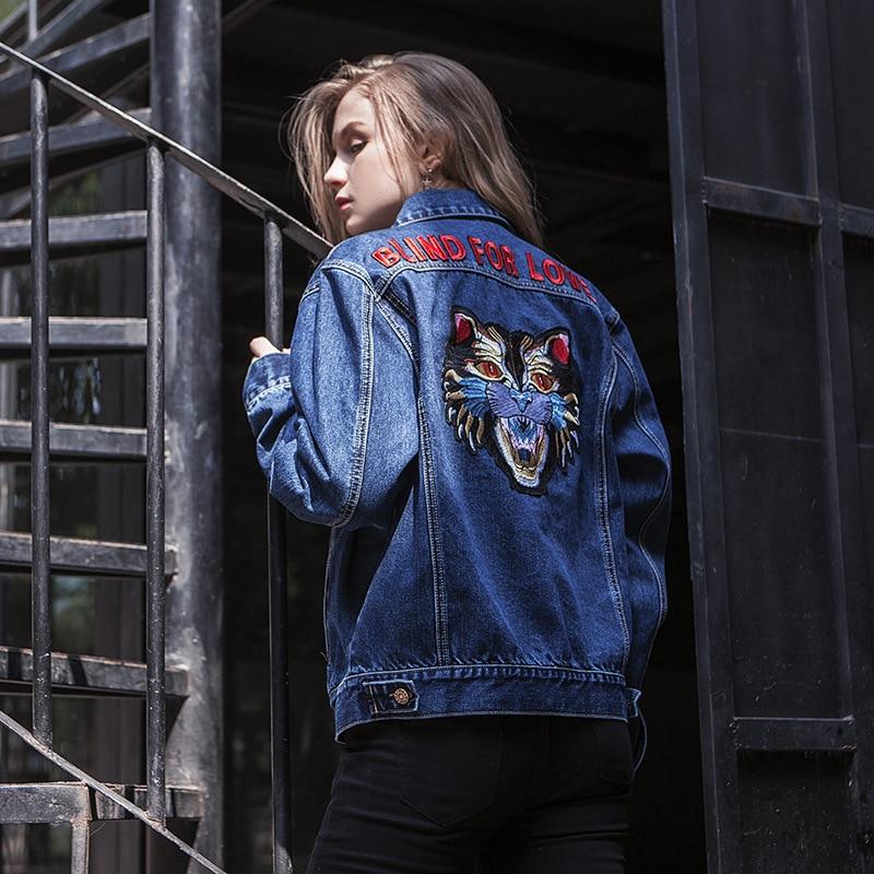 Veste Chat Nouvelle Manches Hiver Manteau Street 2017 Mode Jean Longues En Revers Lettres Europe De Bleu Style Broderie Femmes Automne E7q4nw4vx