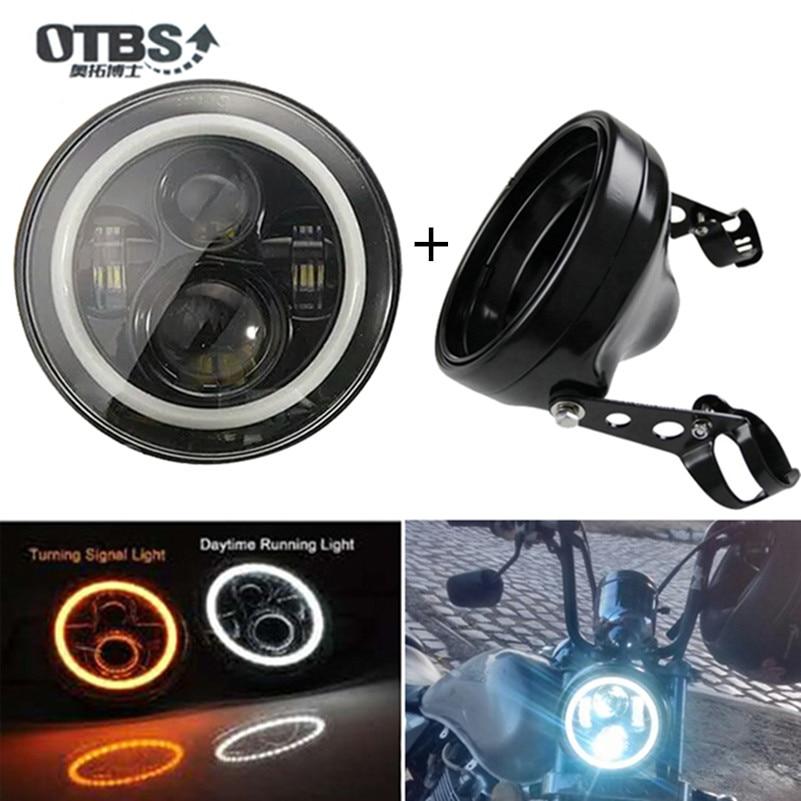 OTBS 7 pouces accessoires de moto phare 7 pouces Led support de boîtier de phare pour Harley Chopper café Racer Bobber Curisers