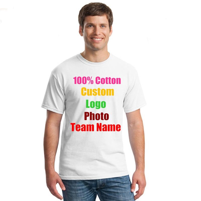 Team Company Oversized Loose Man Custom Logo Photo Text Printed   T     shirt   Summer Short Sleeve Loose Boy Mens Tops DIY Unique Tops