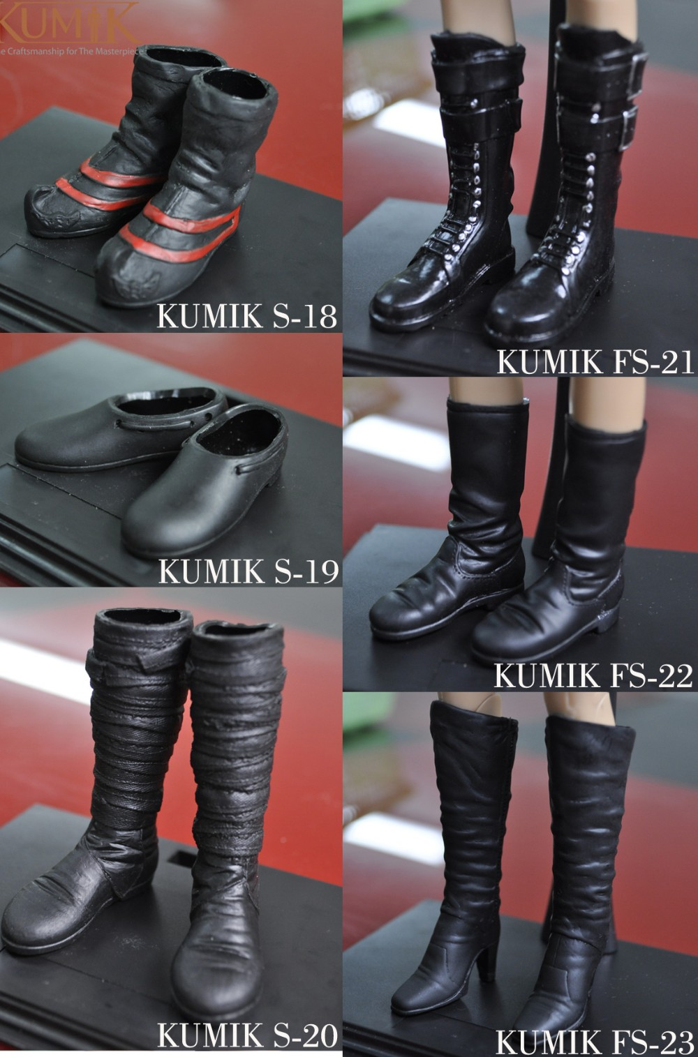 1:6 Scale Kumik FS-23 Female Shoes Model Black Boots Fit 12/'/' Figure