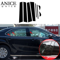 8pcs shiny black Mirror Effect Window Center Pillar Cover Trim fit For toyota Camry 2018 2019 pc