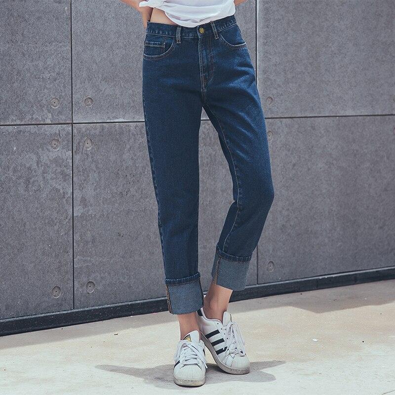 ФОТО 2016 autumn new fashion womens cowboy harem pants vintage 2 colors denim jeans loose straight  trousers#XCD-X270