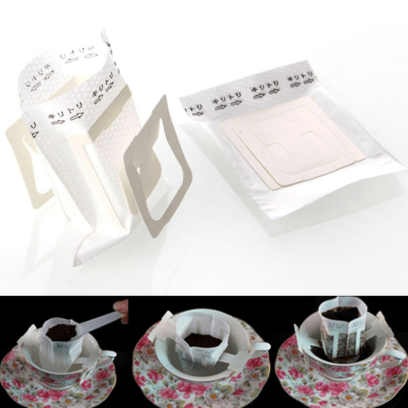 100PCS Filter Paper For Coffee Bag Paper Filter Hanging Ear Coffee Dripper Cups Portable Outdoor V60 Drip Bag Coffee Filters