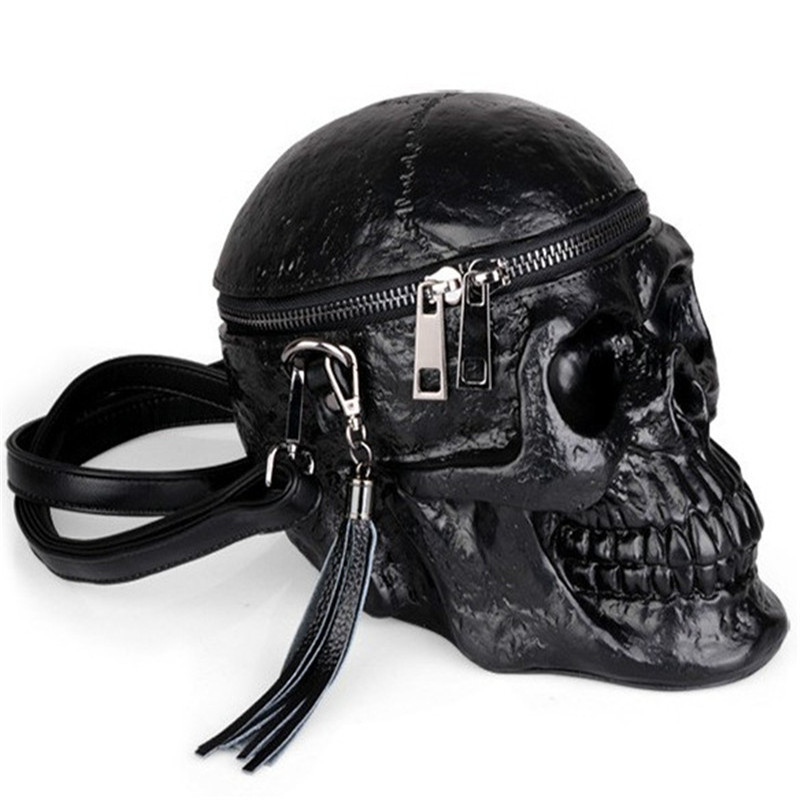 3D Funny Skeleton Head Black Shoulder Crossbones Messenger Bag Men Women Street Leather Zipper Skull Handbags