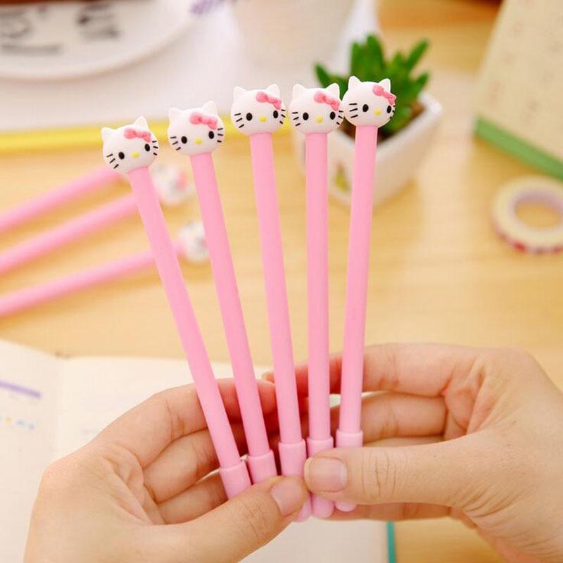 4X Kawaii Hello Kitty Pink Princess Gel Pen Writing Signing Student Kids Girl Stationery Gift School Office Supply 0.38mm